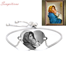 Engrave Photo Bracelet Customized Bracelets Stainless Steel Engrave Adjustable Bangles For Mother ID Tag Memory Gift