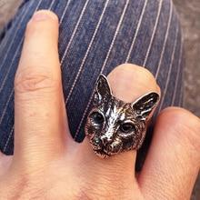 جديد عصري فريد قابل للتعديل كبير رئيس القط خواتم أسود اللون الرجال موضة الحيوان القط خواتم مجوهرات النساء