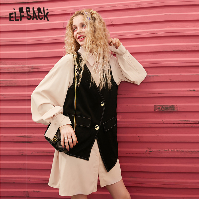 ELFSACK Beige Solid Chiffon Loose Casual Women Matching Sets 2020 Spring New Vintage Two Button Irregular Ladies Two Piece SuitS