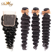 Deep Wave Bundles With Closure Human Hair Bundles With Closure Brazilian Hair Weave Bundles Dorisy Non Remy Hair Extensions