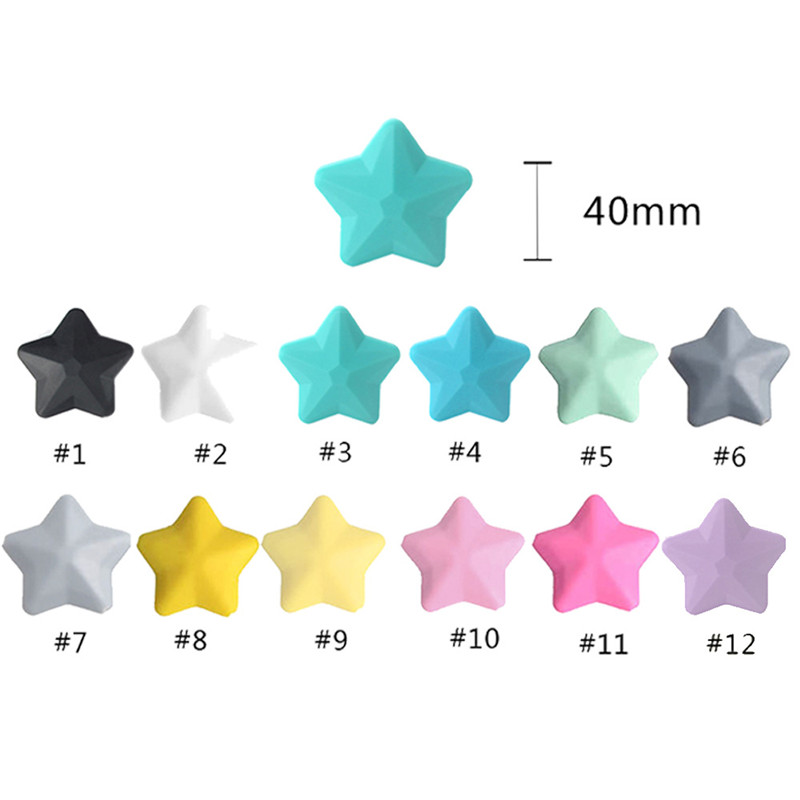 New 5Pcs/Set Thicken Silicone Star Beads 38*12mm BPA Free Food Grade Baby Teething DIY Pacifier Chain Rodent Pentagram Bead