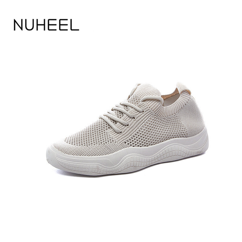 NUHELL Women's Shoes Summer New Korean Casual Wild Breathable Non-slip Lace-up Sneakers Thick-soled Shoes Women