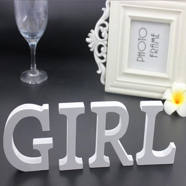 1pc 8CM White Wooden Letters English Alphabet DIY Personalised Name Design Art Craft Wedding Home Decor letters room decoration 4