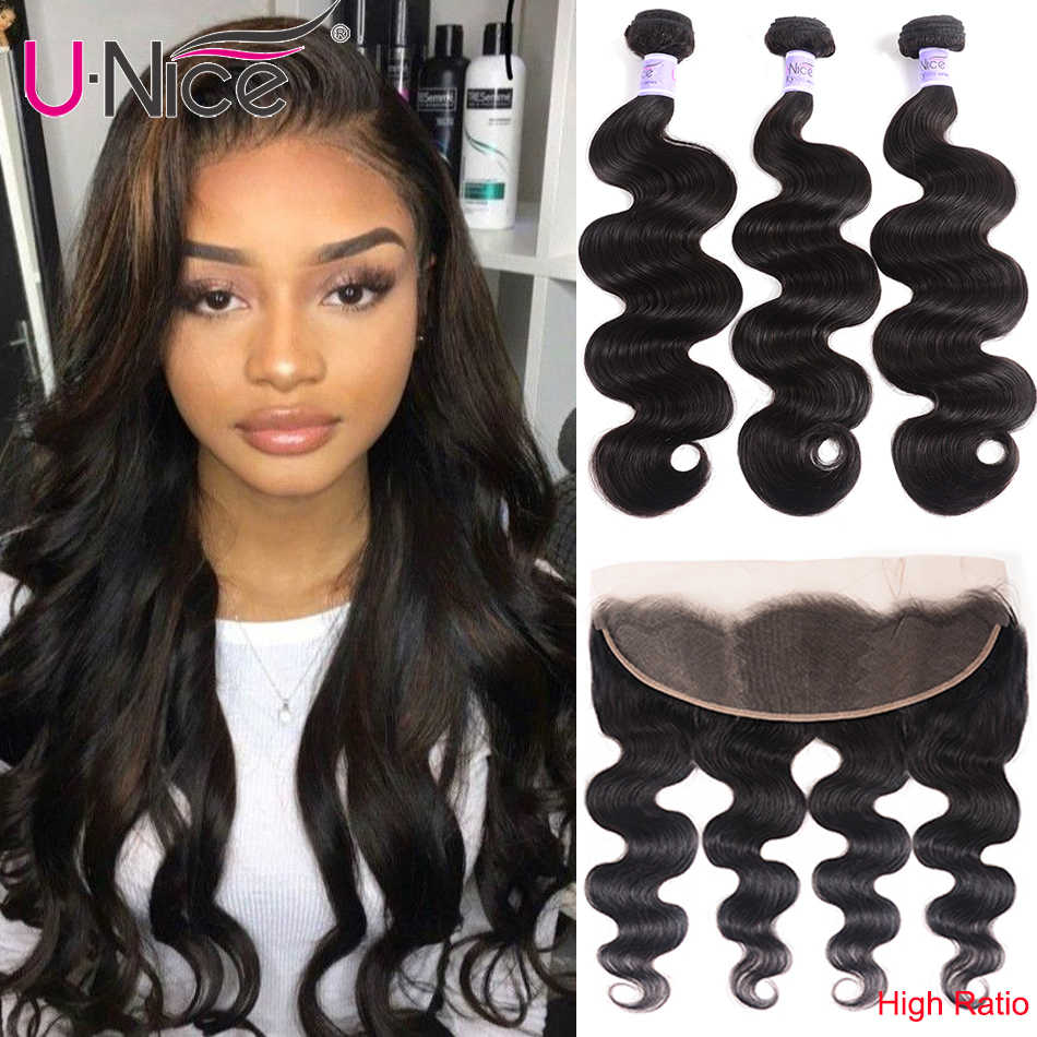 UNice Hair Kysiss Series 8A Body Wave Peruvian Hair Lace Frontal Closure With Bundles 4 PCS Virgin Hair 100% Human Hair Weave
