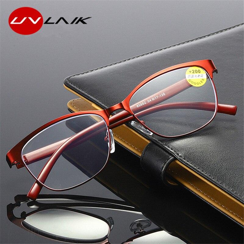 UVLAIK occhiali da lettura retrò in metallo Cat eye occhiali da vista presbiti a luce blu per genitori cerniere a molla per occhiali 2