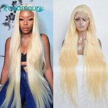 28 30 40 polegadas perucas completas do cabelo humano do laço perucas frontais retas brasileiras de transparen para a mulher negra 613 mel peruca de cabelo loiro