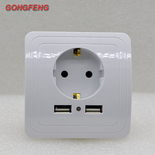 NEW EU Standard 110~250V 16A Electrical Plug Socket Dual USB 2000mA Port Wall Charger Adapter Power Outlet Panel  Special Sale стоимость
