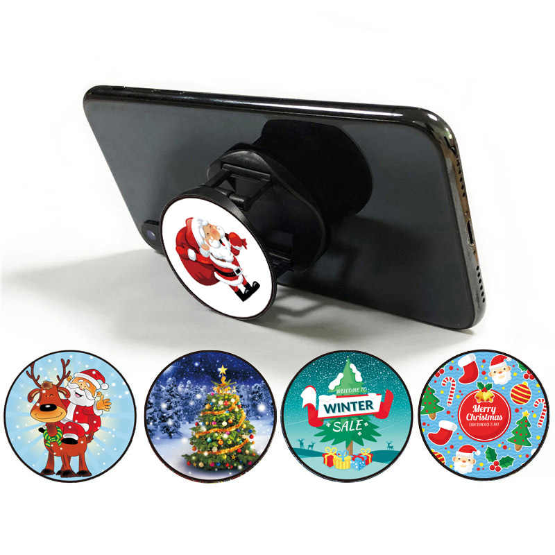 Christmas Day Phone Holder Stand For Smartphones and Tablets Mobile Phone Universal Foldable Finger Ring Holder