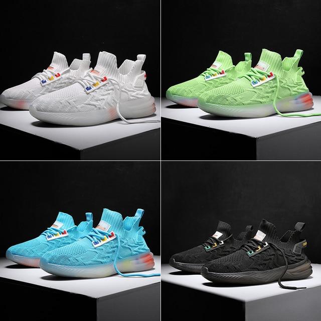 Zapatos informales de estilo de tendencia para hombre, zapatillas con personalidad, ligeras, transpirables, de malla, tejidas, Tenis masculinos, 2020 2
