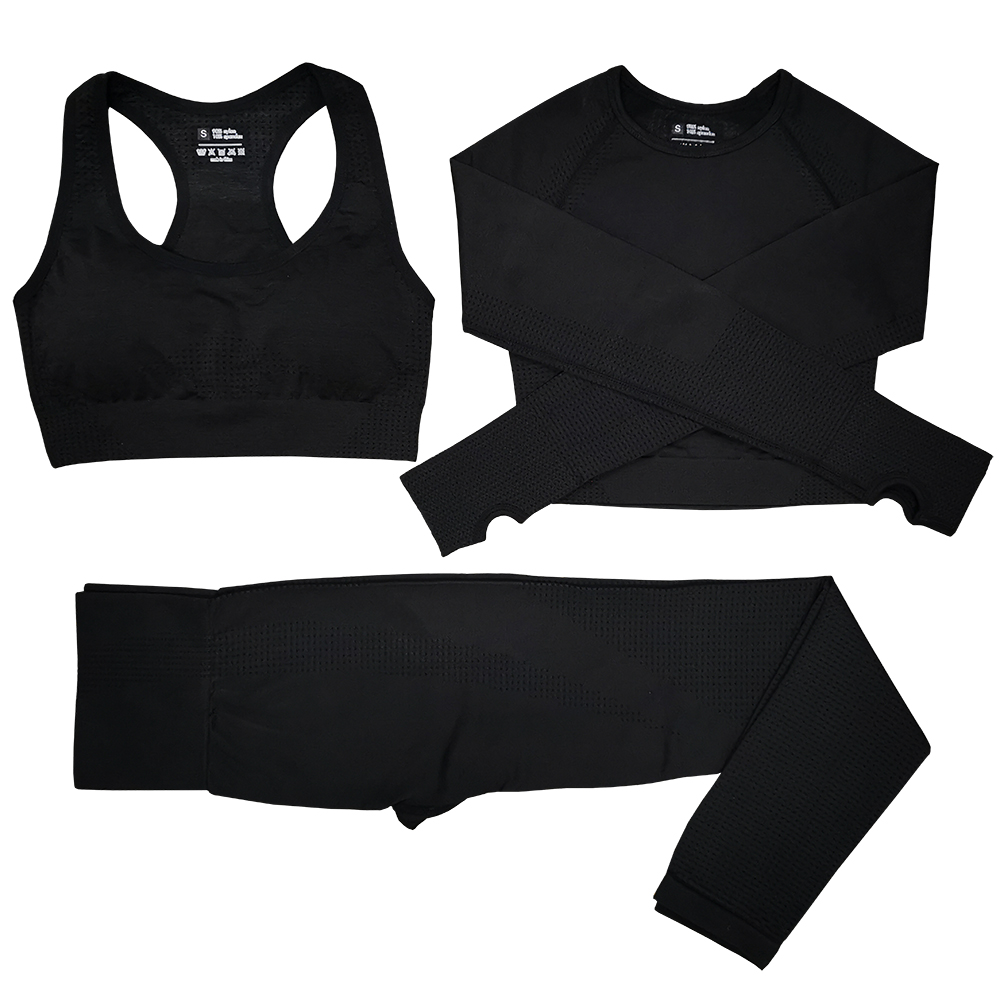 Women Seamless Yoga Set Fitness Sports Suits GYM Cloth Yoga Long Sleeve Shirts High Waist Running Leggings Workout Pants Bra