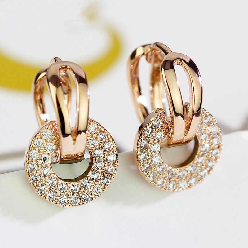 น่ารักหญิงเกาหลีขนาดเล็กคลิปคริสตัลคริสตัล Zircon ขนาดเล็กต่างหูหินสำหรับผู้หญิง Boho Silver Rose Gold ต่างหูคู่