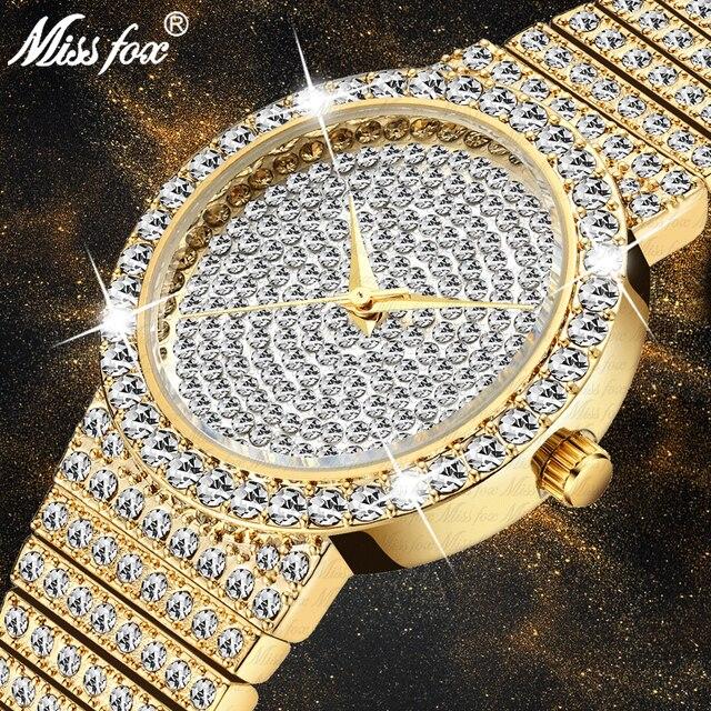 MISSFOX Marke Einzigartige Uhr Männer 7mm Ultra Dünne 30M Wasserdicht Iced Out Runde Teuer 34mm Schlank handgelenk Mann Uhr 2562