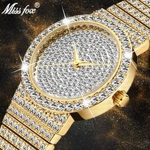 Missfox marca relógio único homem 7mm ultra fino 30m resistente à água iced para fora redondo caro 34mm fino relógio de pulso homem 2562