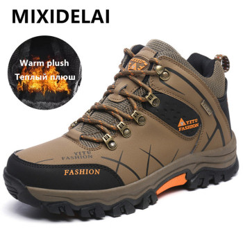 MIXIDELAI Men Boots Winter With Plush Warm Snow Boots Casual Men Winter Boots Work Shoes Men Footwear Fashion Ankle Boots 39-47 reetene new men boots winter with fur 2018 warm snow boots men winter boots work shoes men footwear fashion rubber ankle shoes