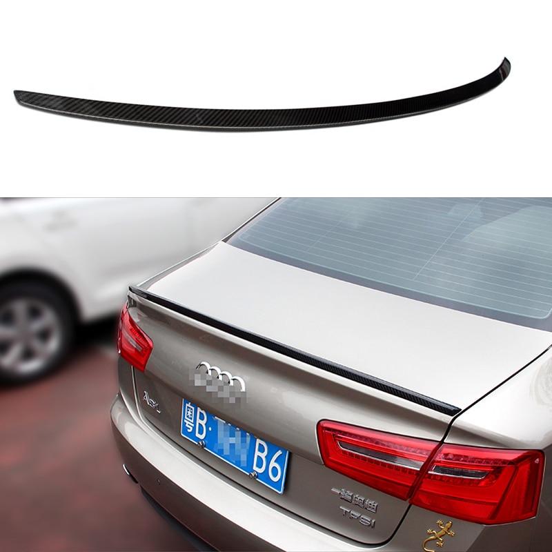 Pour Audi A6 A6Q becquet queue A6 C7 S6 Style fibre de carbone becquet arrière coffre arrière couvercle Boot lèvre aile voiture Style décoration 12-17