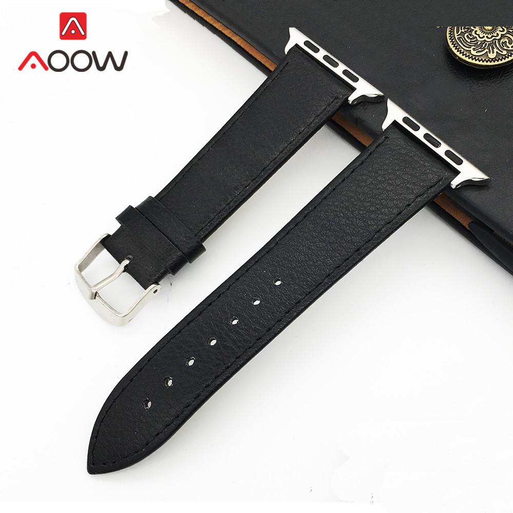 Soft Leather Watchband For Apple Watch 4 5 40mm 44mm 38mm 42mm Men Women Replacement Bracelet Strap Band For IWatch 1 2 3