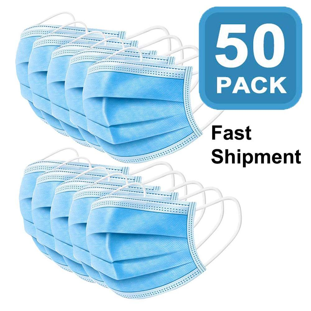 Higt 50pcs Blue Mask Disposable Nonwove 3 Layer Ply Filter Mask Mouth Face Mask Filter Breathable Protective Masks