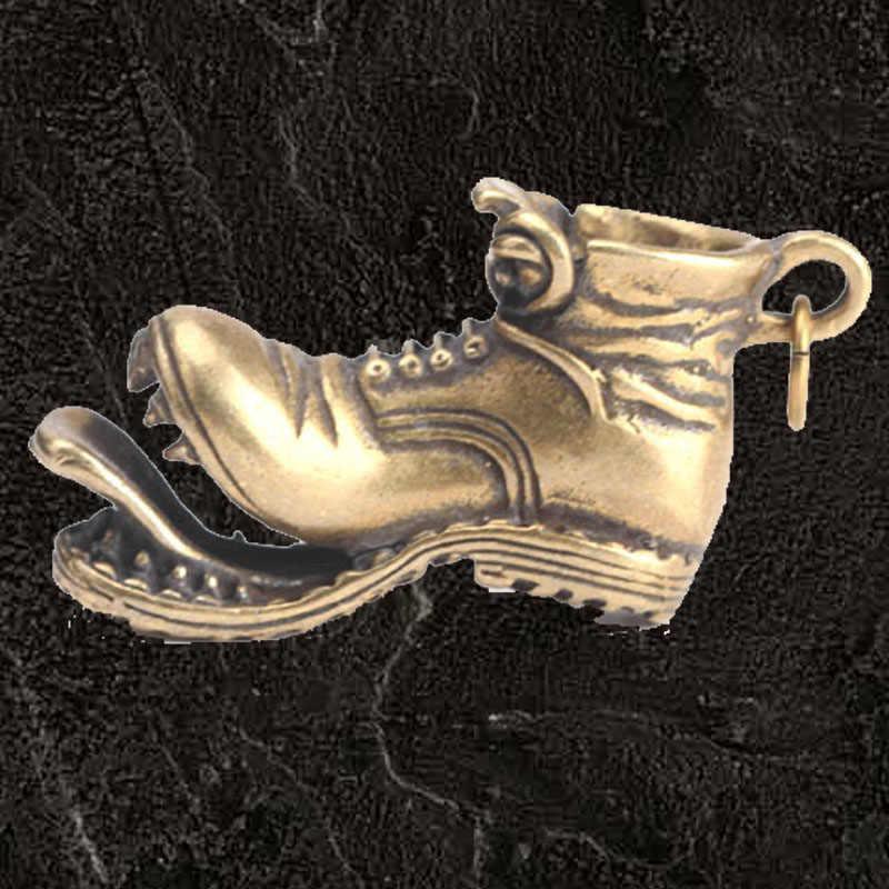 Yeni moda yaratıcı anahtarlık açılış saf bakır Retro pirinç bölünmüş ağız büyük botlar kolye anahtar halka kolye hediye büyük ayakkabı anahtar