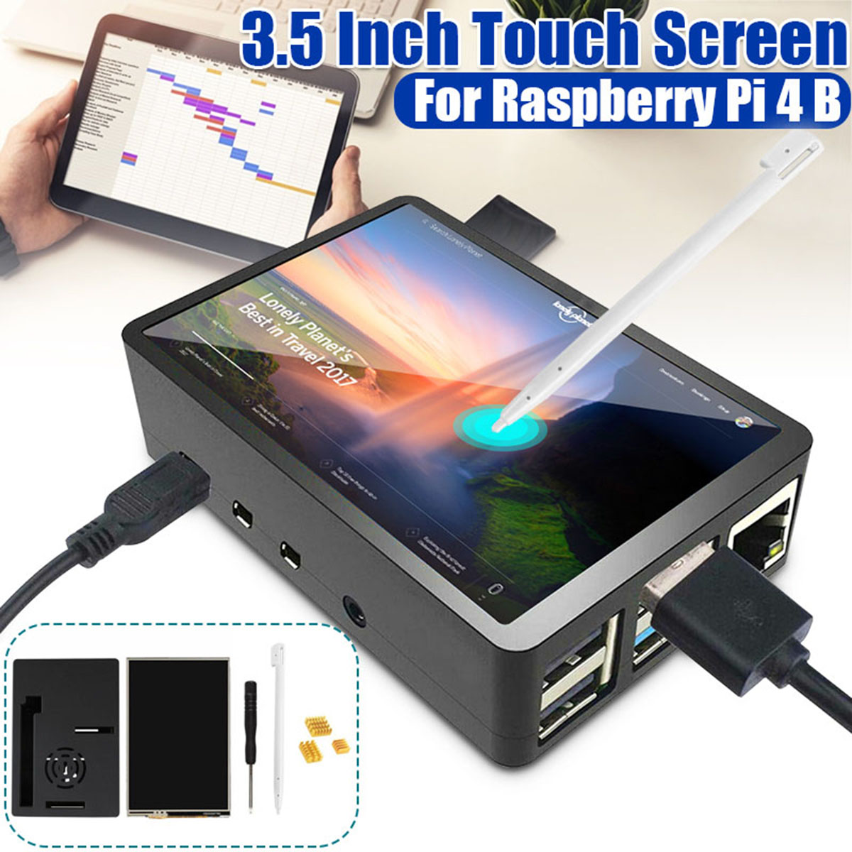 1 Set 3,5 zoll TFT LCD Touchscreen + ABS Fall + Touch Pen + Schraubendreher LCD Display HDMI Input Monitor für Raspberry Pi 4 B