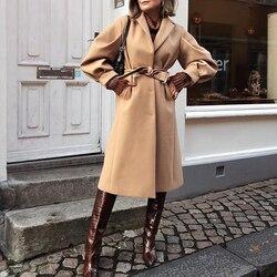 Simplee moda tendência camelo casaco das mulheres estilo britânico longo rendas até casaco de lã quente estilo de rua alta inverno ao ar livre casaco 2020