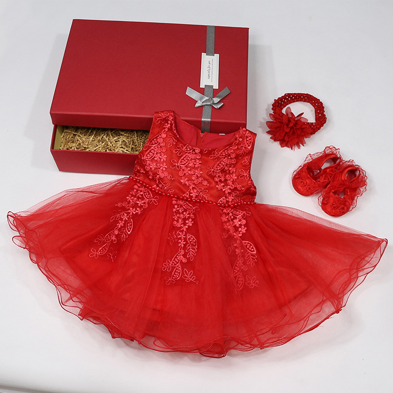 Yoliyolei 1st Year Birthday <font><b>Dress</b></font> with Gift Box <font><b>Summer</b></font> <font><b>Baby</b></font> Girls <font><b>Dresses</b></font> For <font><b>Baby</b></font> Princess Christening Party Newborn Clothes image
