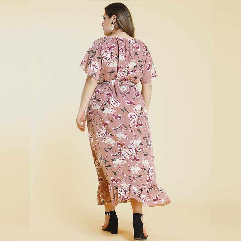 Robes de soirée à fleurs roses femmes manches courtes évasées imprimé Floral ceintures volants Maxi longue grande taille 3XL 4XL dames robe tissu