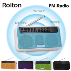 Rolton E500 Wireless Bluetooth Speaker HiFi Stereo Music Player Portable Digital FM Radio w/ Flashlight LED Display Mic TF Slot