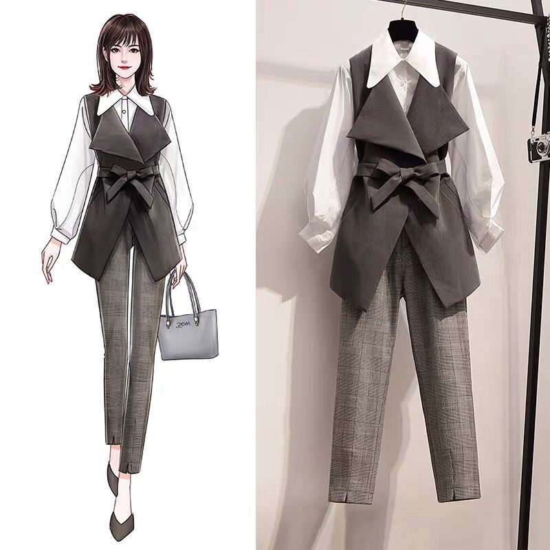 2020 Work Pant Suits Ol 2 Piece Set For Women Business Plus Size Shirt Oversized Trousers Suit For Women Set Office Lady Outfits