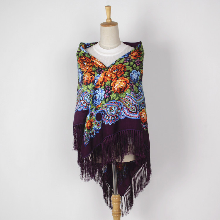 Large Squar Shawl Scarf Fashion Women Printing Russia Style National Designs With Four Sides Tassel Oversize Wrap 135CM*135CM 02