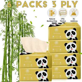 6packs Unbleached Toilet Paper Tissue Bamboo Toilet Paper Hypoallergenic Kitchen Toilet Paper Pumping Toilet Paper with Box фото