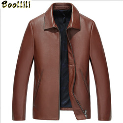 Boollili Men's Genuine Leather Jacket Cowhide Spring Autumn 100% Real Cow Leather Jackets Slim Chaqueta Cuero Hombre