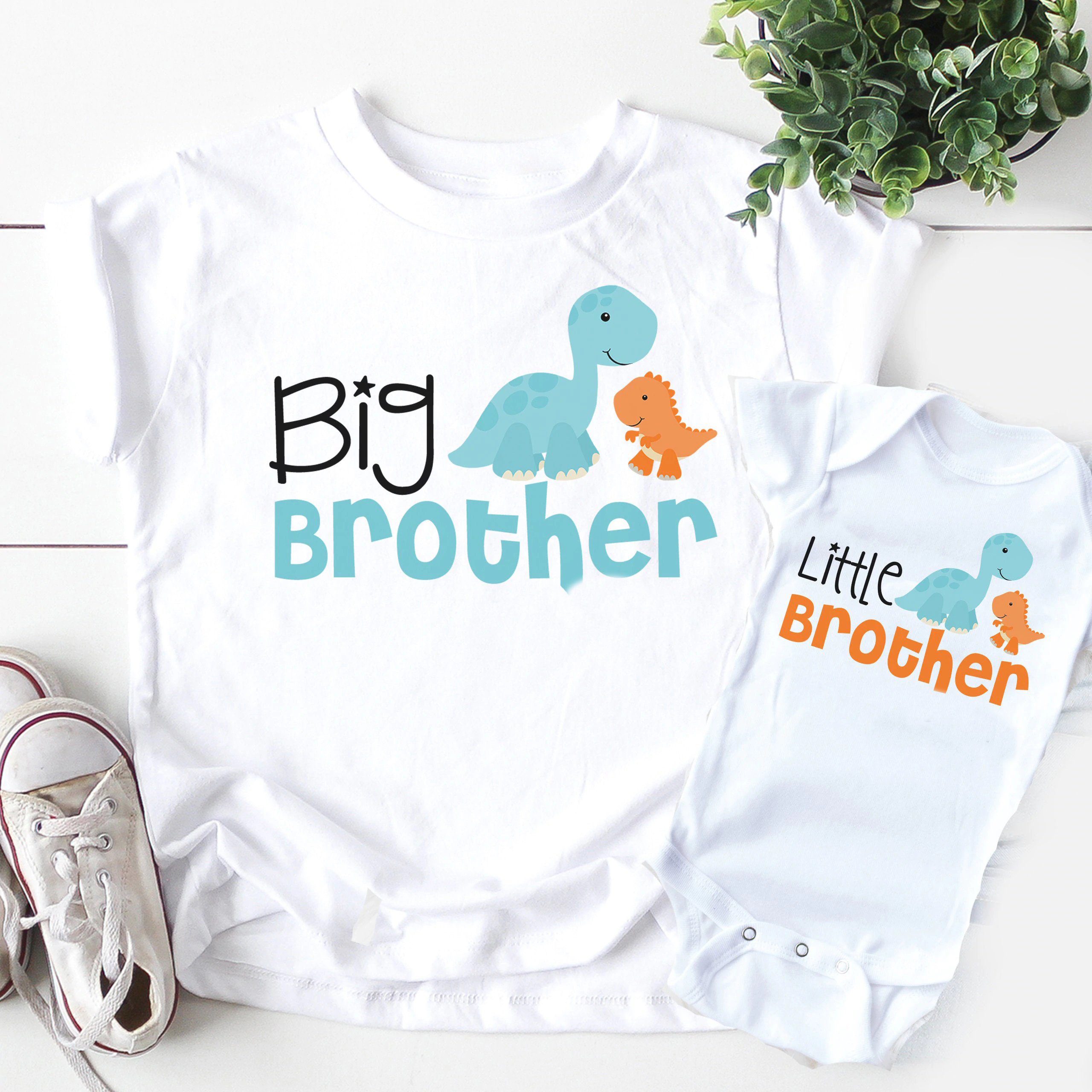 1PC Big Brother Little brother siblings matching Shirts  Personalized  dinosaur tops big brother little brother matching outfits