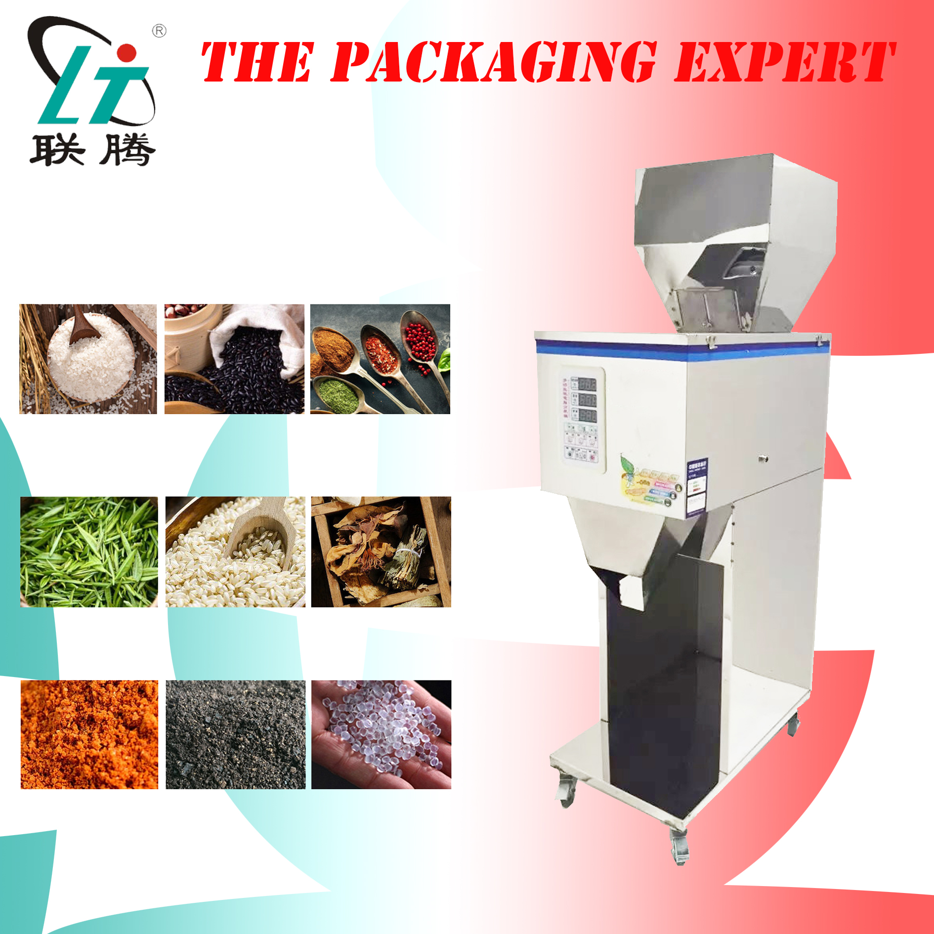 Filling And Weighing Machine Scale Filler Herb Tea Leaf Powder Medicine Coffee Beans Particle Suger Flour Rice Racking Device