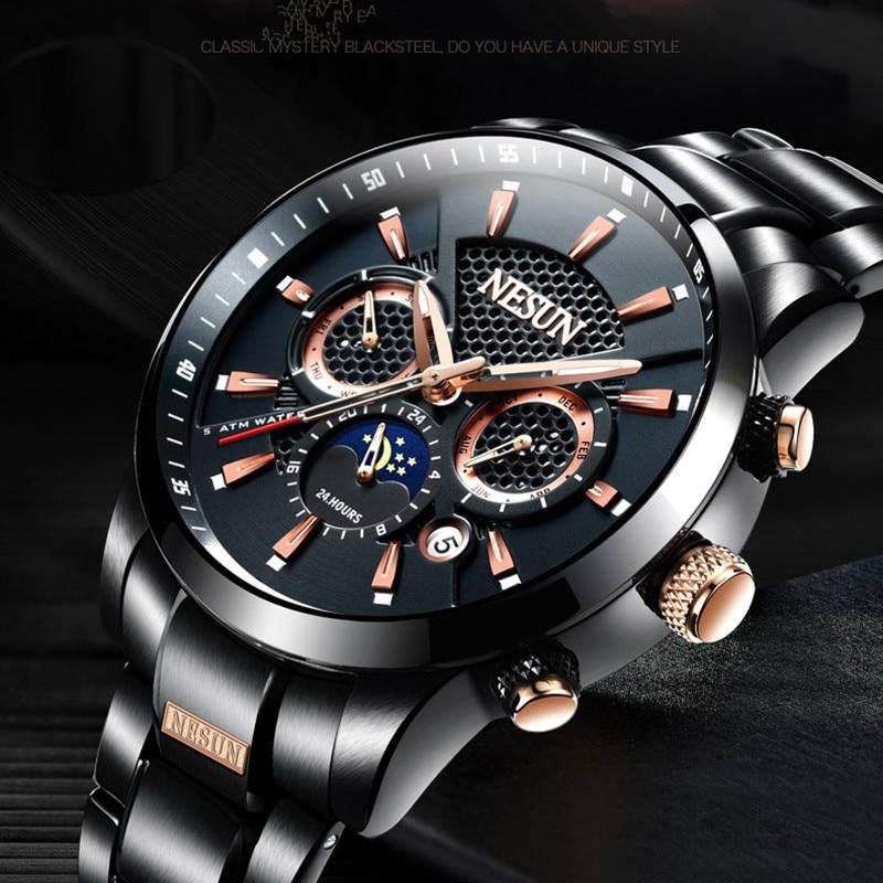 Cool Sporty Design Men Workable 3 Eyes Automatic Watches Self-winding Full Steel Watch Moon Phase Calendar Wristwatch Waterproof