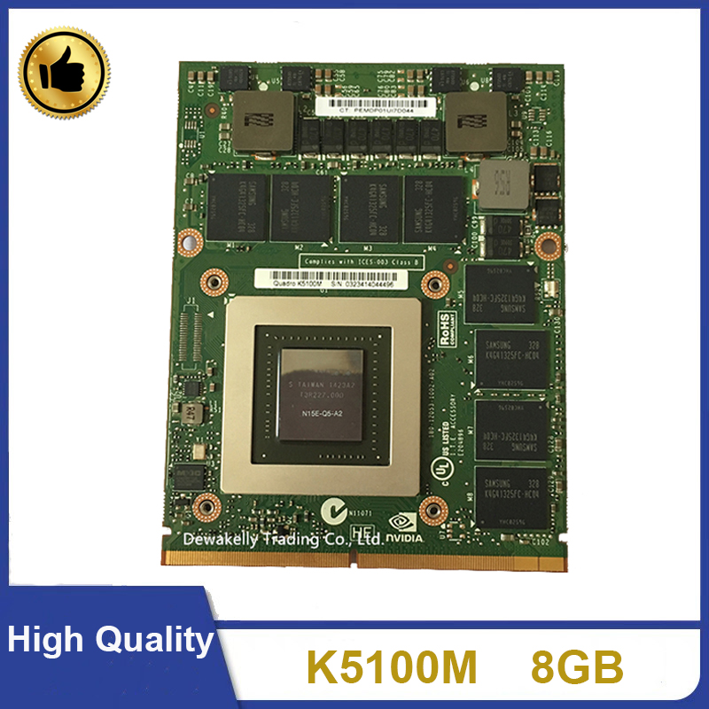 Original K5100M K5100 8GB For DELL M6700 M6800 HP 8770W ZBOOK15 G1 G2 N15E-Q5-A2 CN-034P9D Video Graphic VGA Card 100% Working