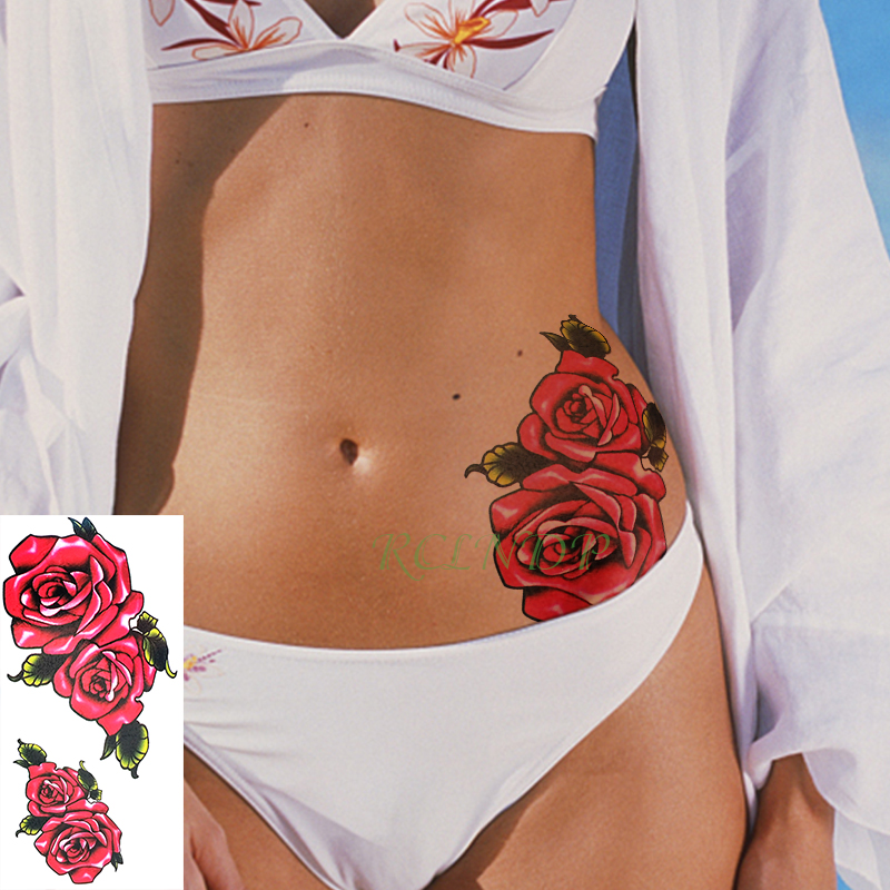 Waterproof Temporary Tattoo Sticker Rose Red Flower Leaf Large Size Art Tatto Flash Tatoo Fake Tattoos For Girl Men Women