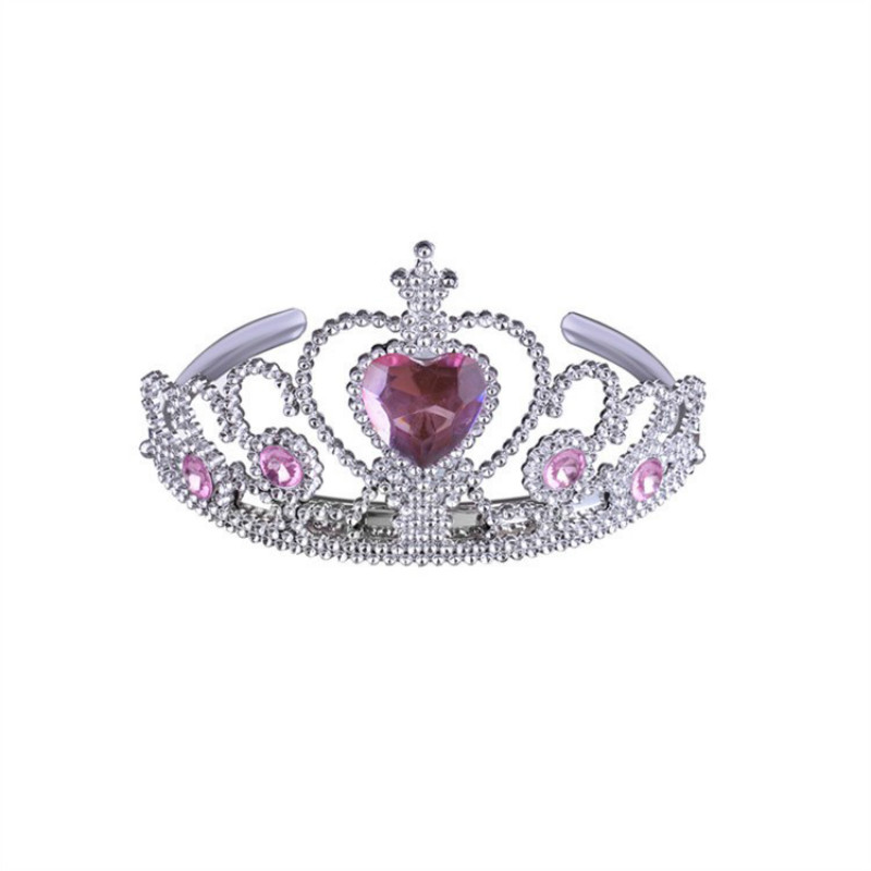 Cute Rhinestone Heart Golden Wedding Crown Headband Princess Pink Plastic Tiara Hairband For Girls Kids Hair Accessories