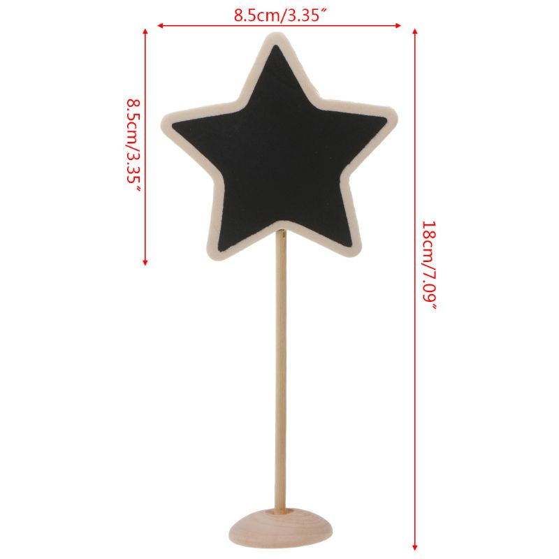 5Pcs Star Mini Wooden Chalkboard Blackboard Message Table Number Wedding Party Decor Place Card Holder AXYF