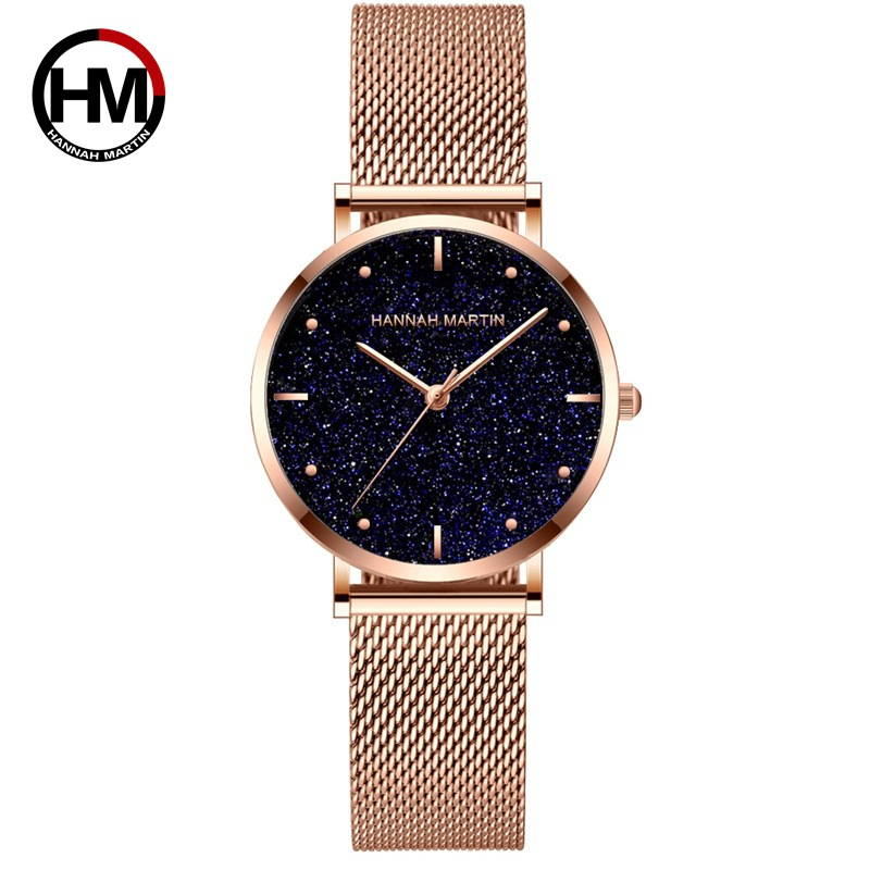 Hannah Martin Woman's Watch Star Sky Dial Gold Watches Women Crystal Diamond Casual Ladies Wrist Watch Reloj Mujer Clock