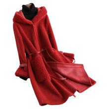 Abrigo de piel auténtica, chaqueta de lana para mujer, abrigo de Otoño Invierno, ropa para mujer, Tops de oveja vaporosa Vintage coreana 2020, Manteau Femme ZT4313