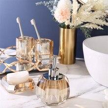Bathroom Accessories Set Crystal Glass Soap Dispenser & Dish Gargle Cup Cotton Swab Box Tray Wedding Gifts Birthady Presents