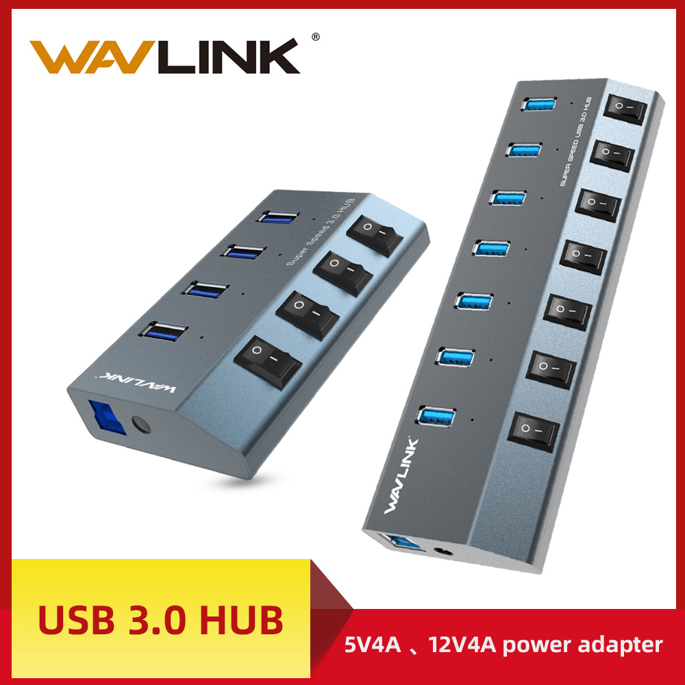 Wavlink Aluminum USB HUB 3.0 With Power Adapter On/Off Switch High Speed 4 /7 Ports USB 3.0 HUB EU/US/UK Plug For MacBook Laptop