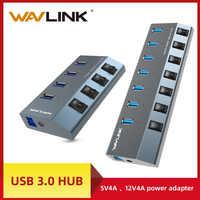 Wavlink aluminium USB HUB 3.0 avec adaptateur d'alimentation interrupteur marche/arrêt haute vitesse 4/7 Ports USB 3.0 HUB ue/US/royaume-uni prise pour MacBook ordinateur portable