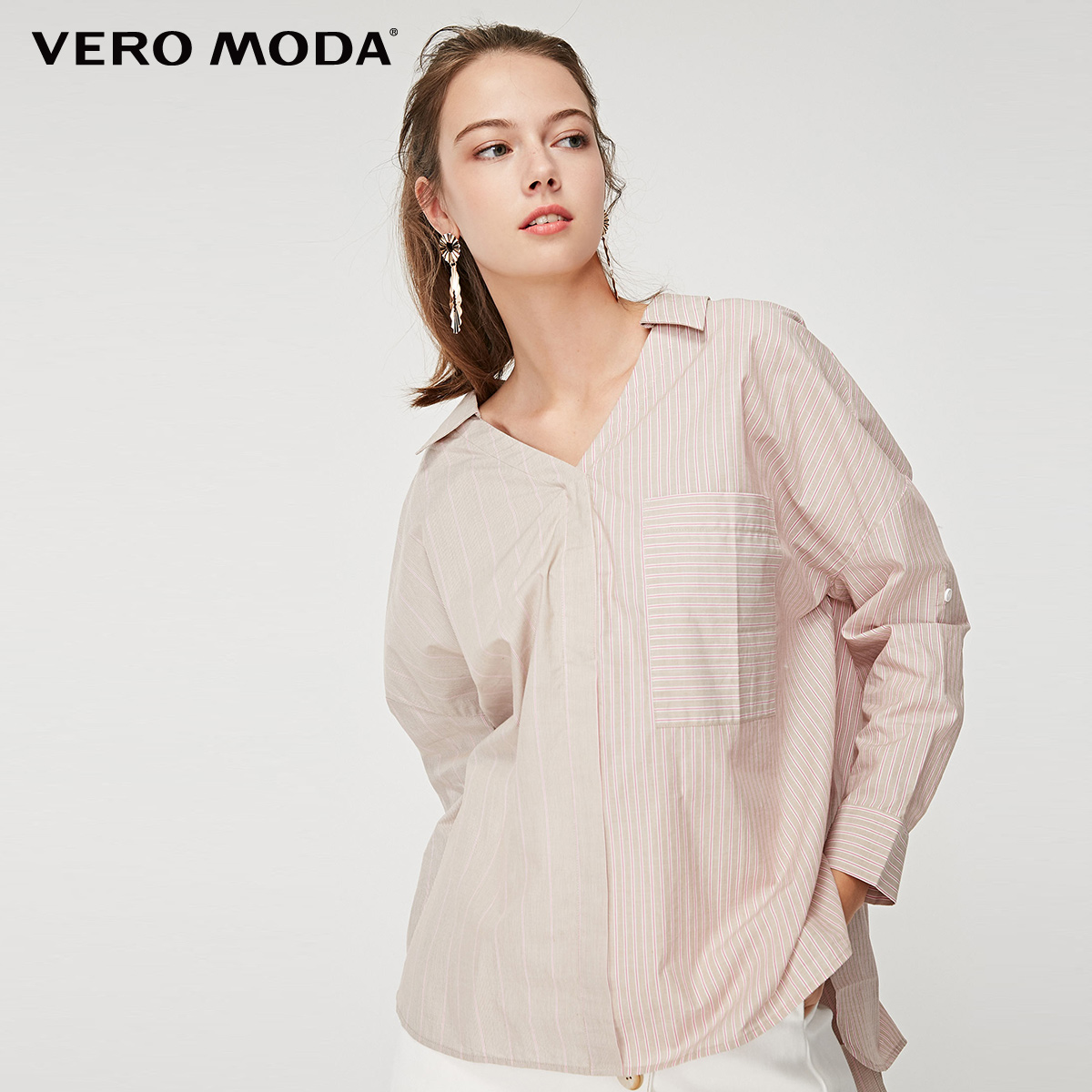 Vero Moda Women's 100% Cotton Striped Loose Fit Drop-shoulder Sleeves Shirt | 319151515