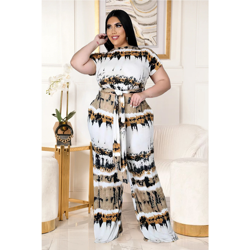 Floral Print Two Piece Sets Plus Size 4XL 5XL Women Tops and Pants Summer Casual Fashion High Waist Wide Leg Trousers for Ladies