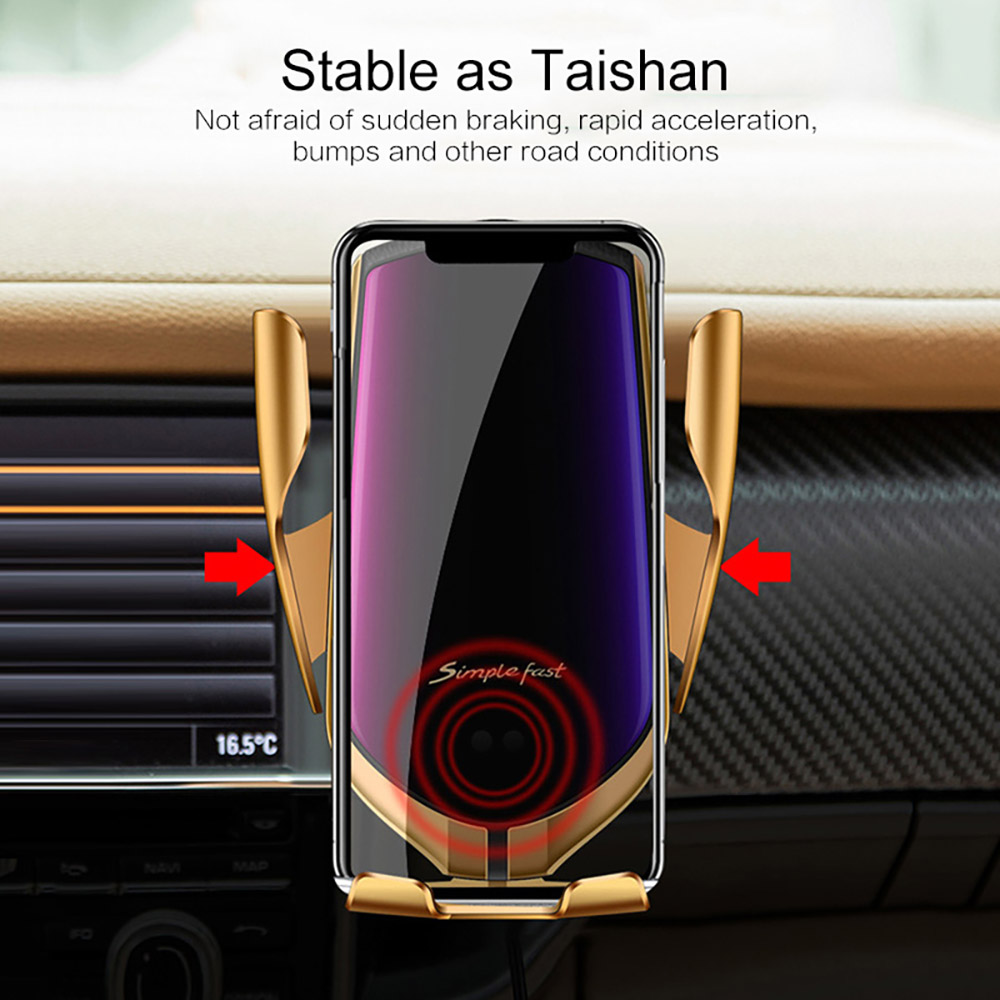 Image 3 - Automatic Clamping 10W Qi Car Wireless Charger For iPhone 11 Pro X Xs MAX Infrared Induction Fast Charger Stand Car Phone Holder on
