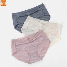 Xiaomi – sous vêtements en soie glacée, 3 pièces, sans couture, Sexy, translucide, dentelle, taille moyenne, slip, entrejambe en coton, Lingerie antibactérienne