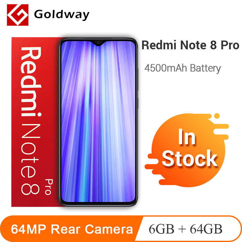 In Stock ! Xiaomi Redmi Note 8 Pro 6GB 64GB 64MP Quad Rear Camera Smartphone MTK Helio G90T Octa Core 4500mAh Battery NFC