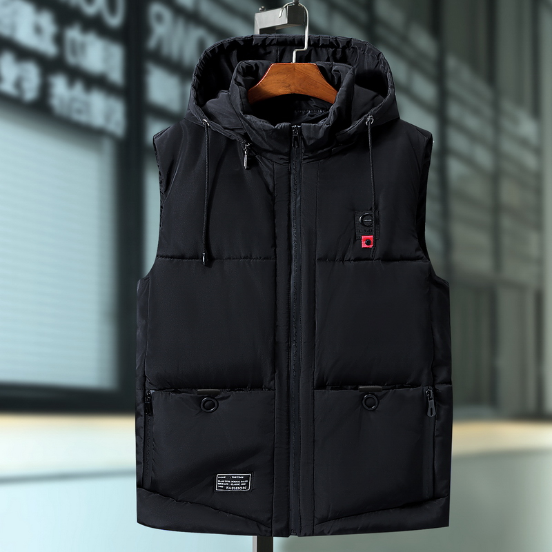 Plus Size 6XL 7XL 9XL Casual Winter Sleeveless Jacket Male Hooded Thick Warm Parka Jacket Waistcoat Men Cotton Vest Men Vest