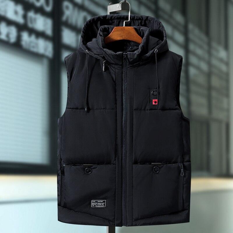 Plus Size 6XL 7XL 9XL Casual Winter Sleeveless Jacket Male Hooded Thick Warm Parka Jacket Waistcoat Men Cotton Vest Men Vest